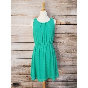 Elle Green Tank Swiss Dot Chiffon A Line Dress